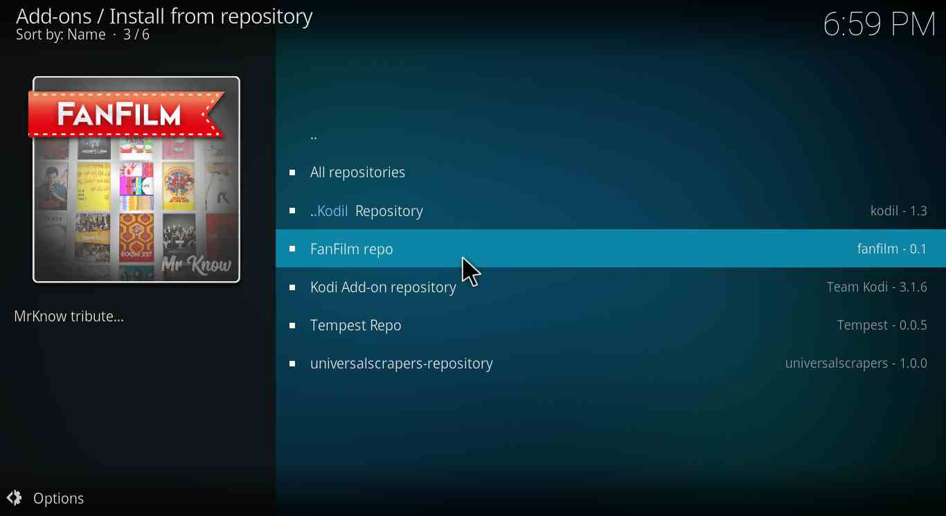 How to install FanFilm Kodi Repo