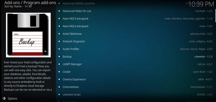 Kodi backup add-on