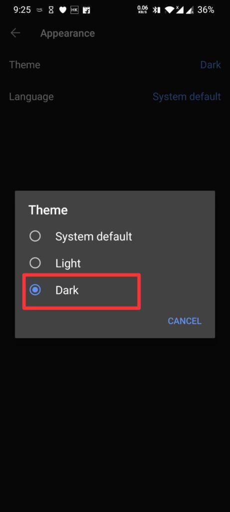 Dark Mode Signal