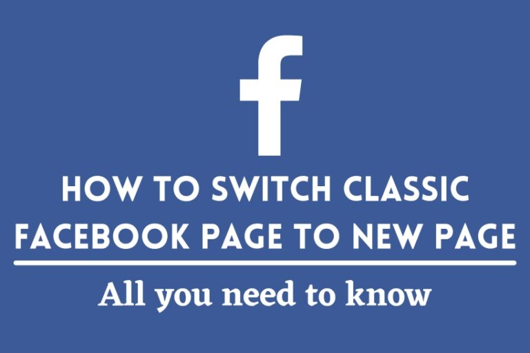 Switch Classic Facebook Page